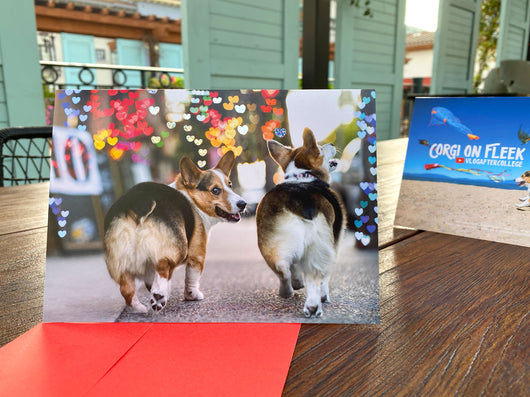 Corgi Glitter Embossed Greeting Card