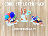 Clear Vinyl Stickers Corgi Explorer Collection