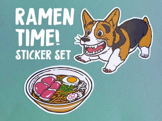 Corgi Ramen Time Glossy Vinyl Sticker Set