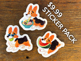 Corgi Clear Vinyl Stickers Gourmet Collection