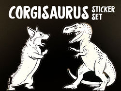 Corgisaurus Rex Clear Vinyl Sticker Set