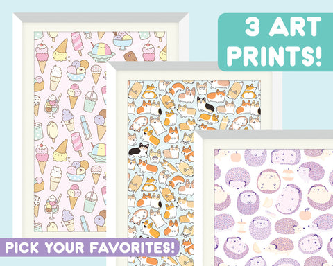 3 Kawaii Doodle Art Prints - Choose Your Favorites!