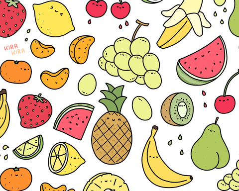 Juicy Fruits Doodle Art Print