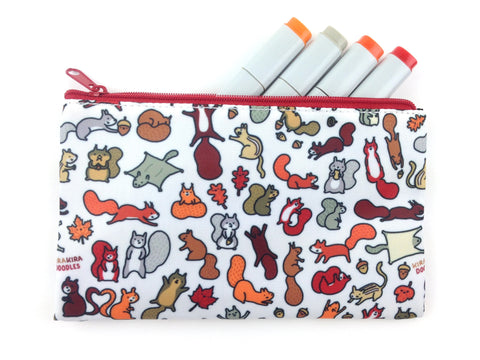 Squirrels in Fall Doodle Zipper Pouch