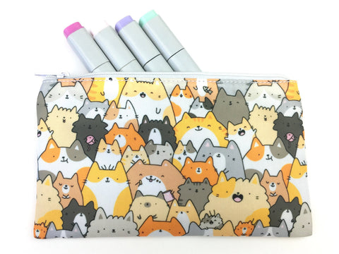Cats, Kitties and a Spy! Kawaii Doodle Zipper Pouch