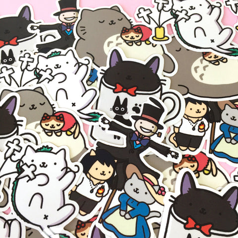 Ghibli Atsume Sticker-Set - 4 Cute Stickers, Studio Ghibli x Neko Atsume