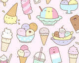 I love Ice Cream! - Kawaii Doodle Art Print
