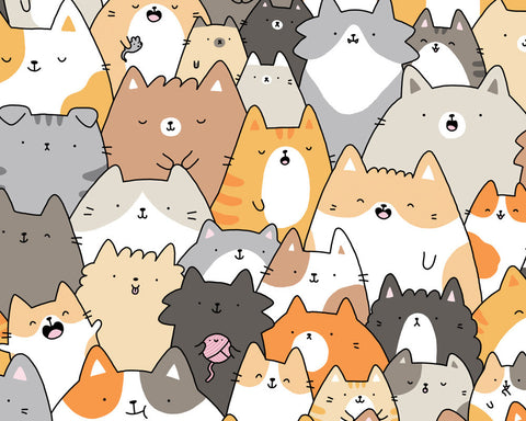 Cats, Kitties and a Spy! Kawaii Cat Doodle Art Print