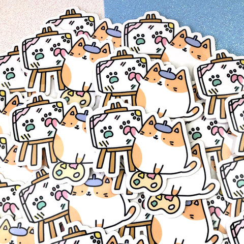 Artsy Cat - Kawaii Kitty Artist Sticker