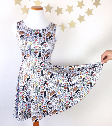 Kawaii Ghibli Doodle Skater Dress