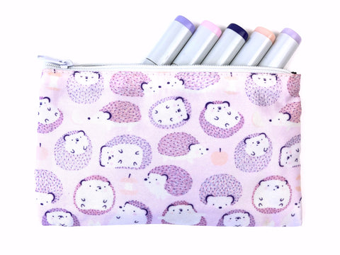 Happy Hedgies - Kawaii Hedgehog Doodle Zipper Pouch