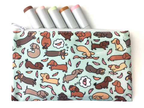 Wiener Dog Wonderland Zipper Pouch