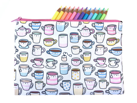 It's Tea Time! Big Zipper Pouch