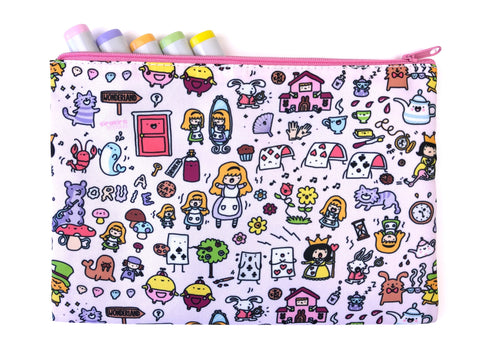 Alice in Doodleland! Big Zipper Pouch