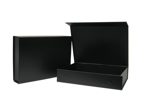 Black Magnetic Foldable Rigid Box - Including ribbon, card and hand wrapping.