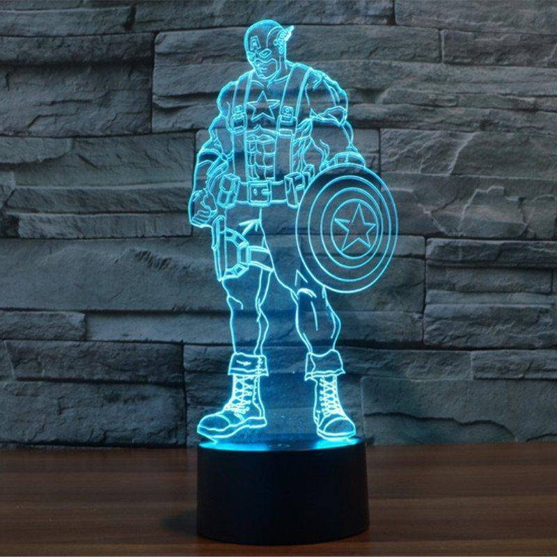 Captain America + Avengers 3D LED Lamp