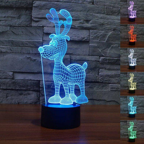 Image of Christmas Reindeer 3D LED Lamp LEDMiracles Cartoon