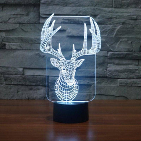 Image of Christmas Reindeer 3D LED Lamp LEDMiracles