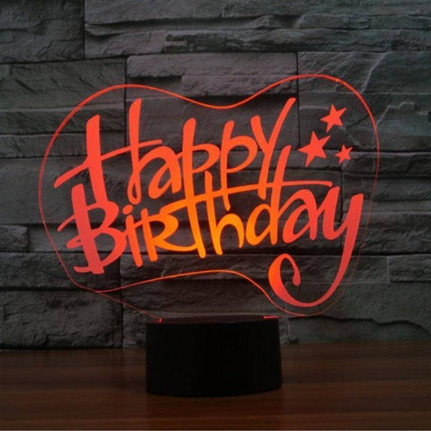 Happy Birthday 3D LED Lamp