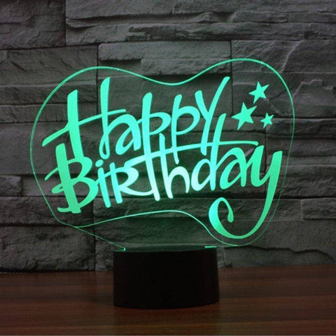 Image of Happy Birthday 3D LED Lamp LEDMiracles