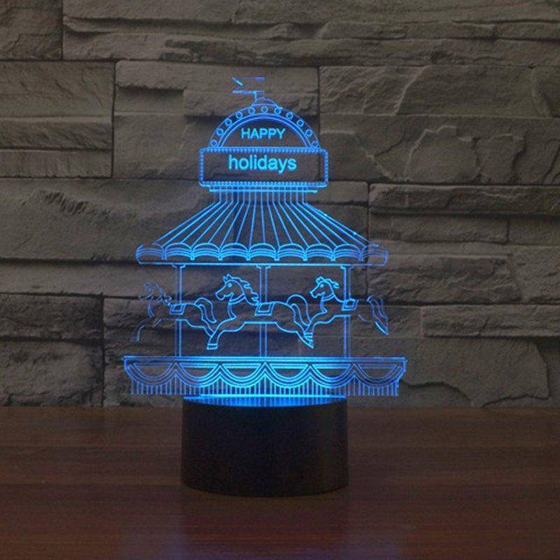 Happy Holidays (Carousel) 3D LED Lamp