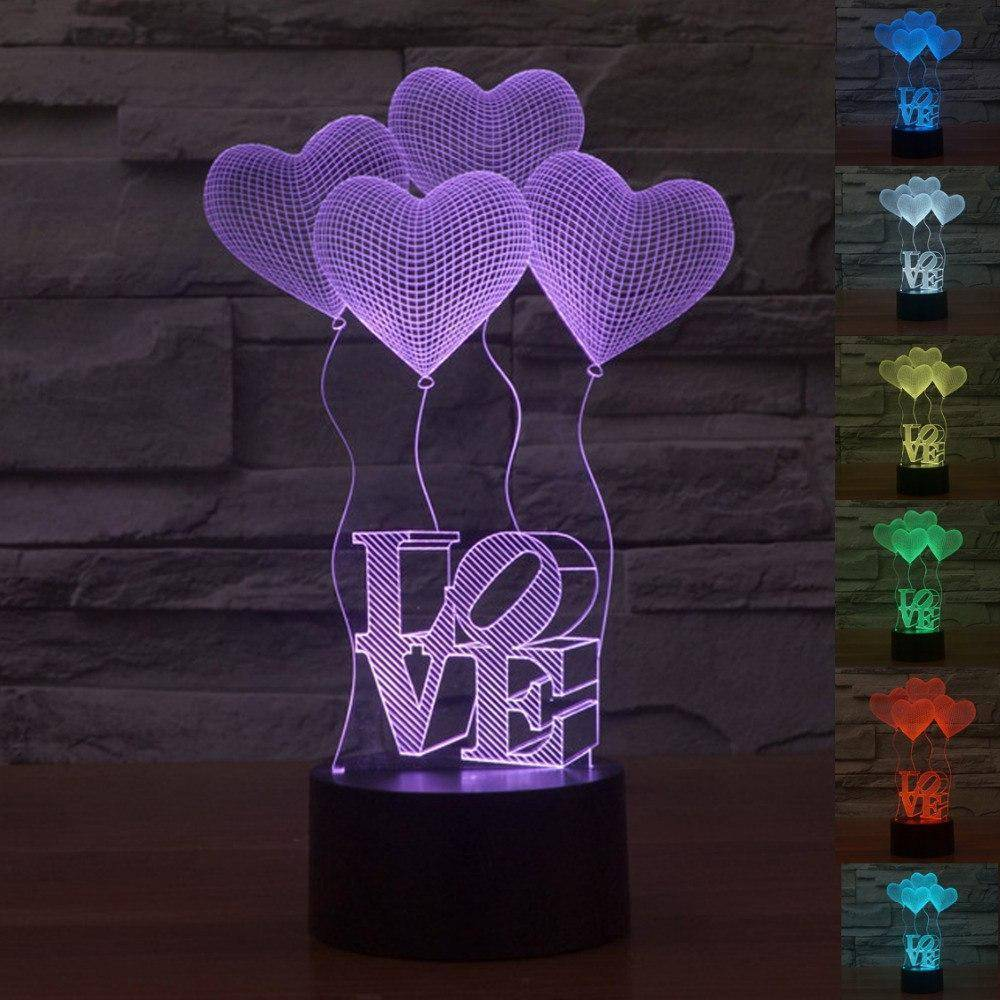 Love Heart 3D LED Lamp