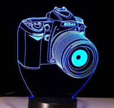 Camera 3D LED Lamp LEDMiracles Nikon 7 Colors Change