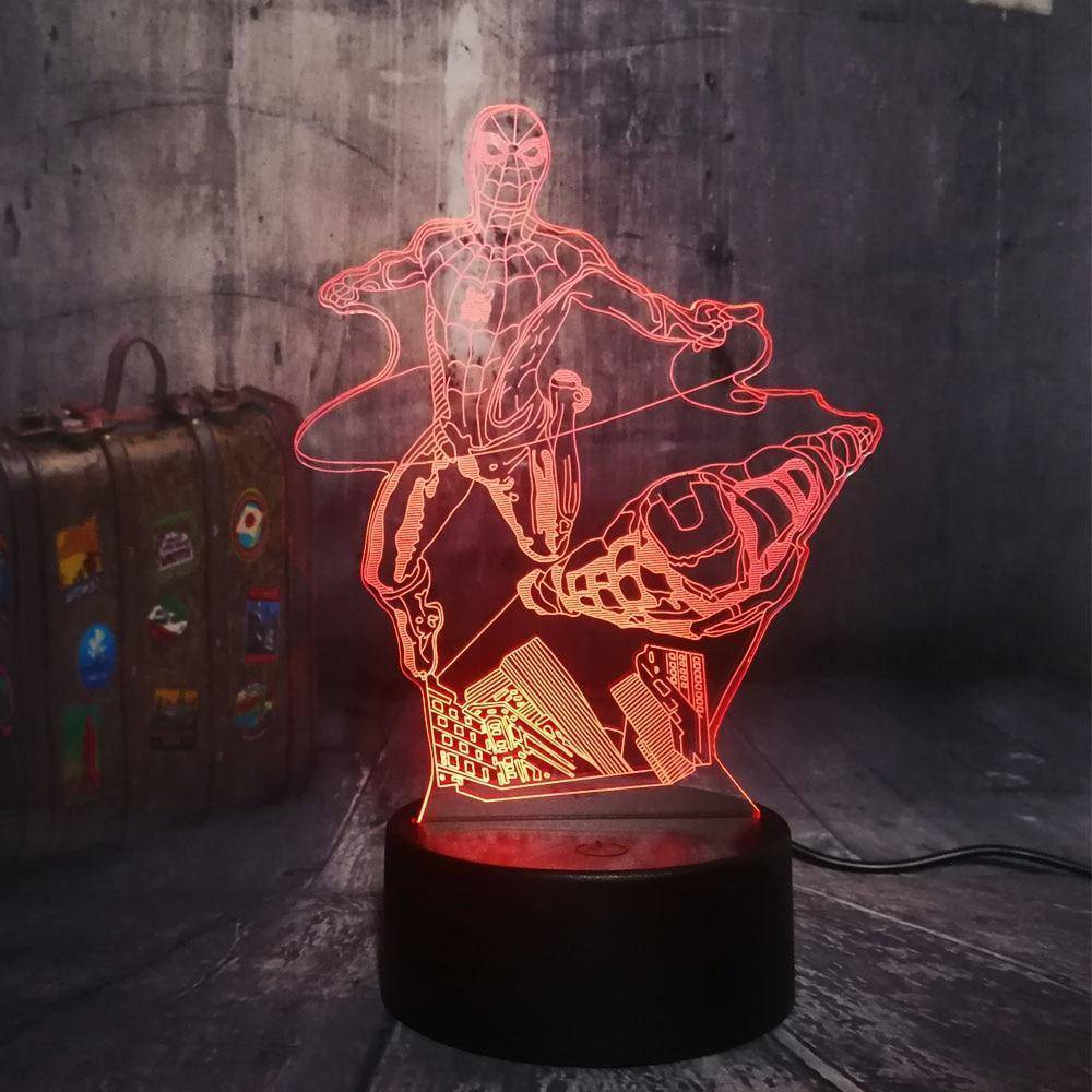 Flying Spiderman&Iron Man 3D LED Lamp