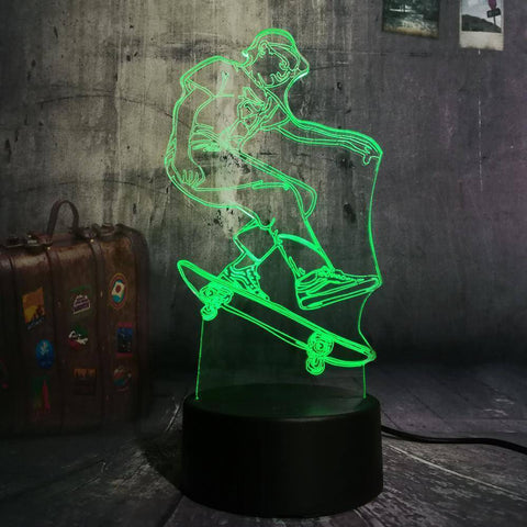 Skateboard Boy 3D LED Lamp LEDMiracles
