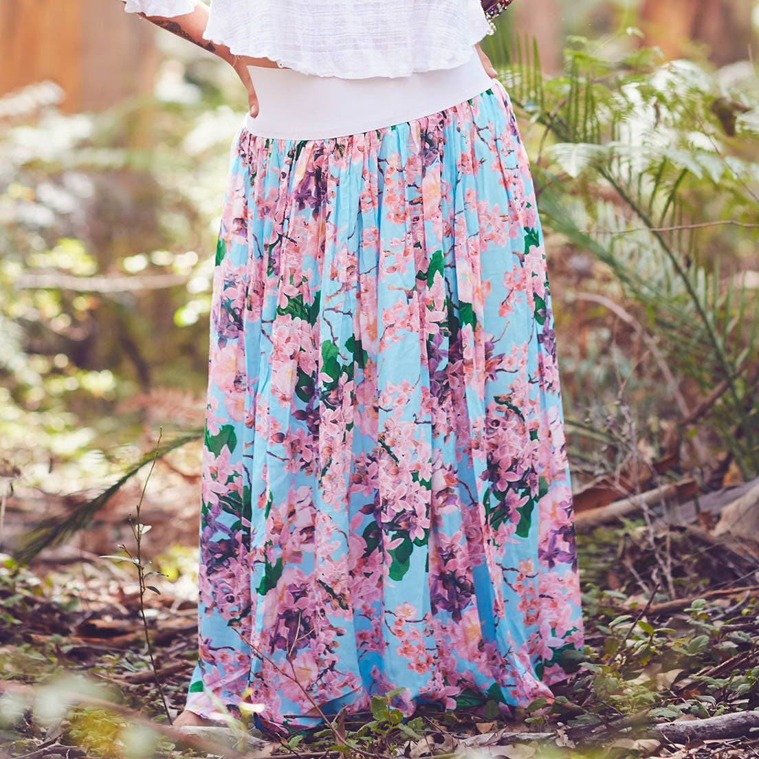 MumTum Blue Blossom Long Skirt