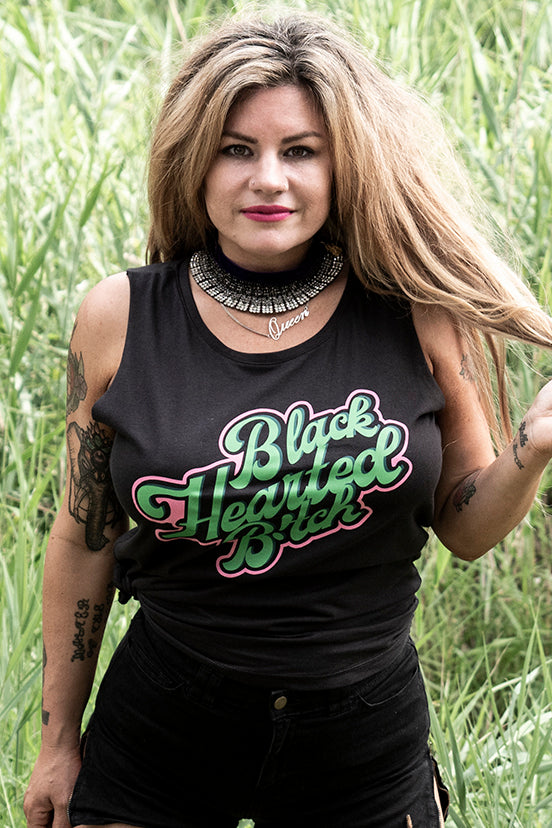 Retro Tank - Black Hearted B!tch - Black/Green