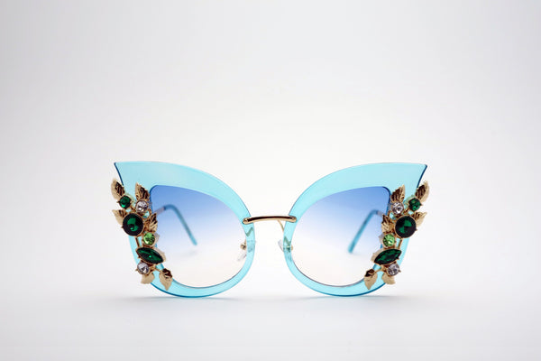 Queens Love - Excess Goddess Fashion Spectacles - Blue Blue
