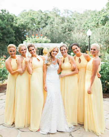 Spring Wedding Yellow Bridesmaid Dresses