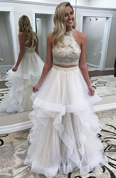 two pieces halter beaded top white long prom dress, PD4154