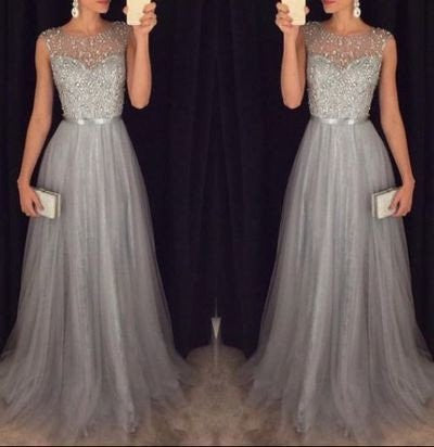 gray prom dress, long prom dress, formal prom dress, charming prom dress, formal evening gown, BD68