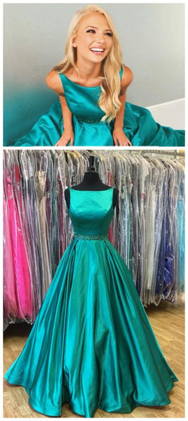 A-line green satin simple long formal prom dress, PD5457