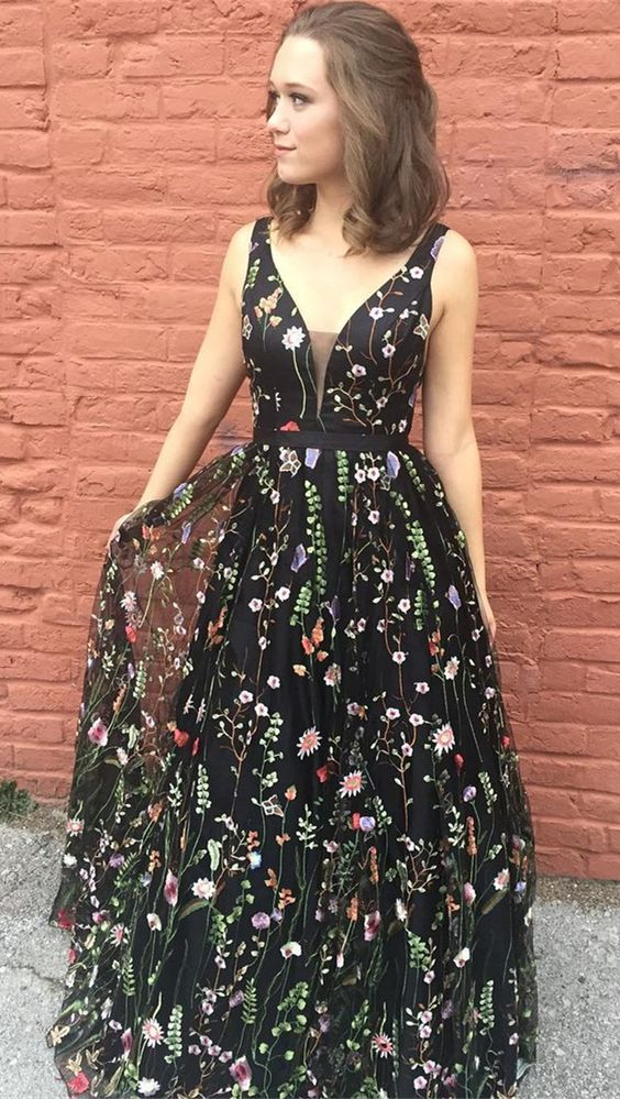 black tulle with flower design long prom dress, BD6897