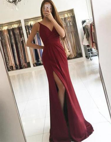 burgundy sexy v-neck side slit long chiffon 2017 cheap prom dress, PD1501