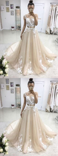 A-line short sleeves  lace long prom dress, BD4579