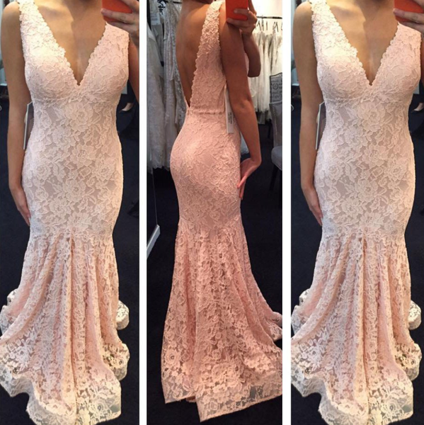 pink lace v-neck mermaid open back long prom dress, PD9779