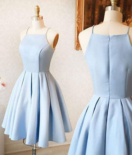 cheap simple light blue satin A-line spaghetti straps homecoming dress, BD3784