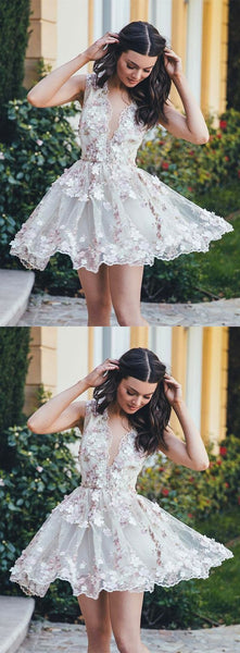 beautiful v-neck flower appliques white short homecoming dress, HD194