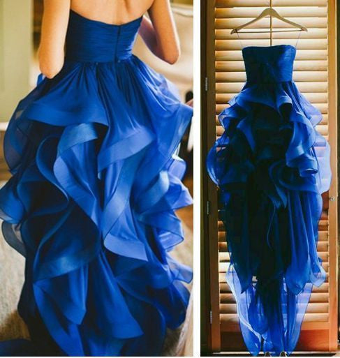 hi-lo prom dress, strapless prom dress, royal blue prom dress, charming prom dress,A-line evening gown, BD70