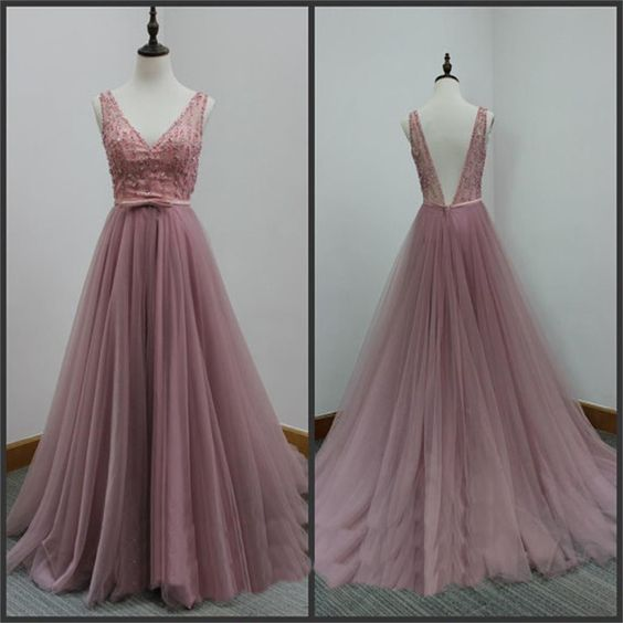 v-neck dusty pink tulle long prom dress, PD546