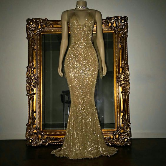 formal gold sequin long prom dress, PD7530