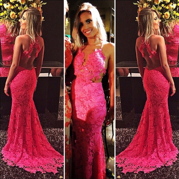 open back elegant formal hot pink lace long charming prom dress, PD446