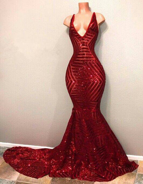 sparkle v-neck mermaid red sequin long prom dress, PD5892