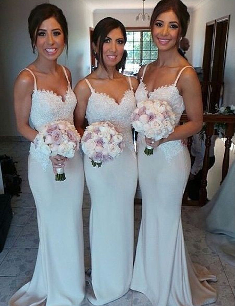 White Bridesmaid Dress, Spaghetti Straps Bridesmaid Dress,Lace Top Bridesmaid Dress,Sweep Train Bridesmaid Dress,Mermaid Bridesmaid Dress, PD10