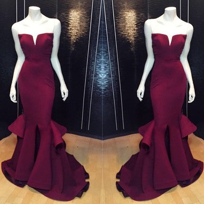 burgundy prom dress, long prom dress, mermaid prom dress, cheap prom dress,formal prom dress, BD511