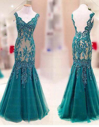 teal green mermaid lace appliques long formal prom dress, PD1304